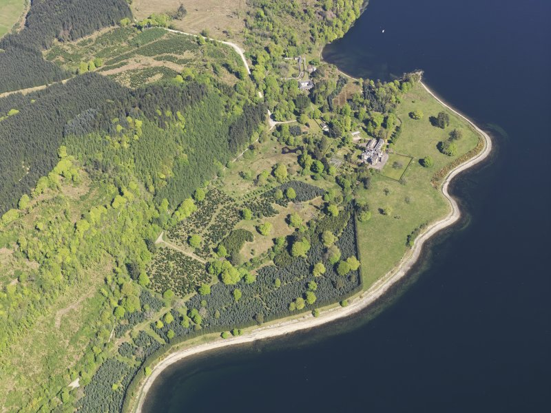 General oblique aerial view of Minard Castle, taken from the SSW.