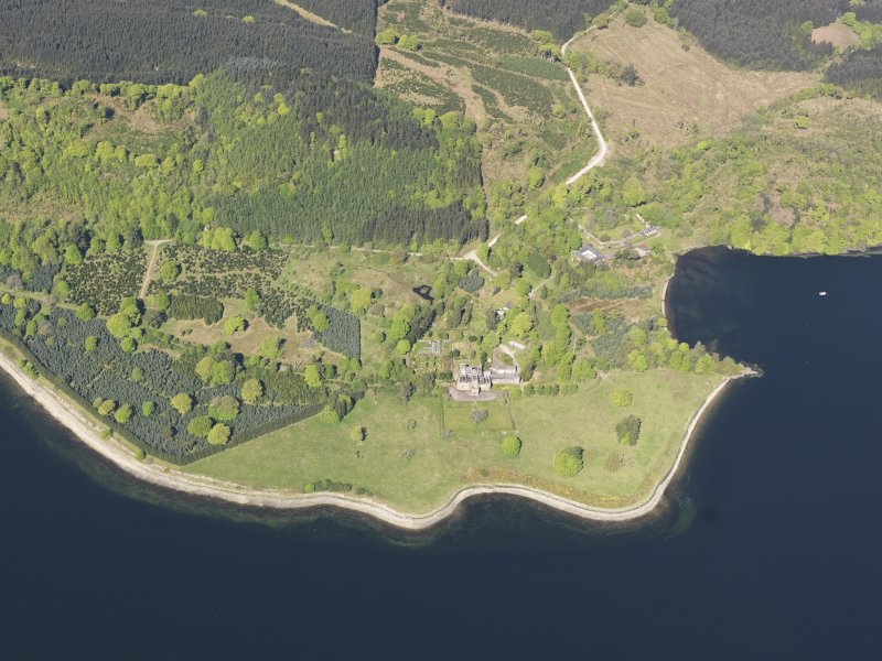 General oblique aerial view of Minard Castle, taken from the SE.