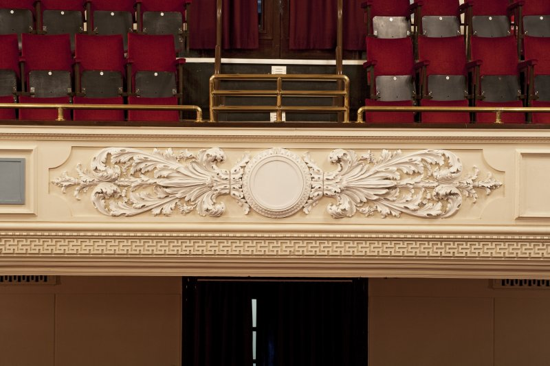 Interior. Auditorium, detail of decoration on balcony front.