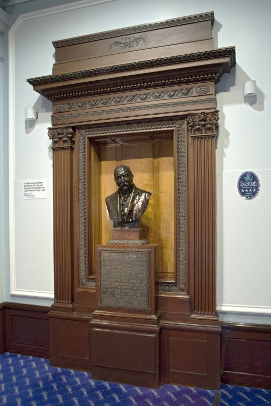 Interior. Ground floor.  Entrance foyer, Sir James K. Caird memorial from north.