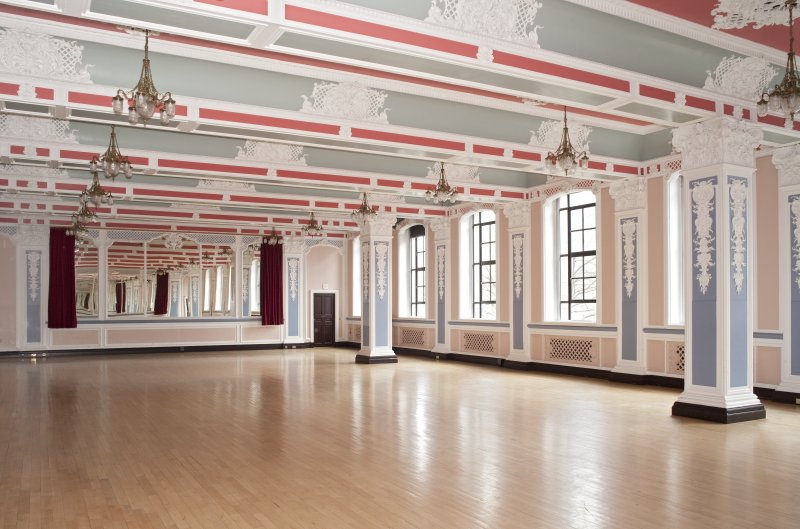 Interior. Ground floor.  Marryat Hall.  View from north east with mirror curtains open.
