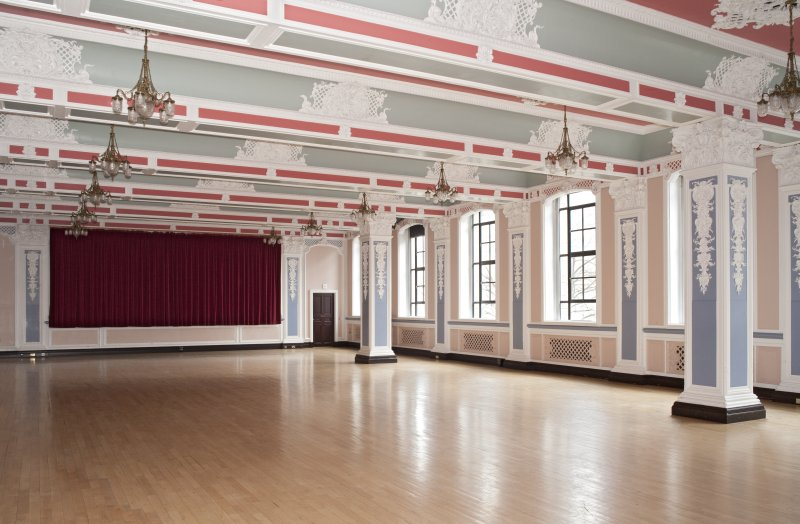 Interior. Ground floor.  Marryat Hall.  View fromnorth east with mirror curtains closed.