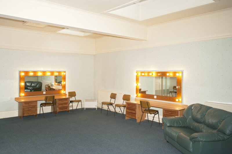 Interior. 1st floor.  Dressing room 4 from north west with make-up mirror lights on.