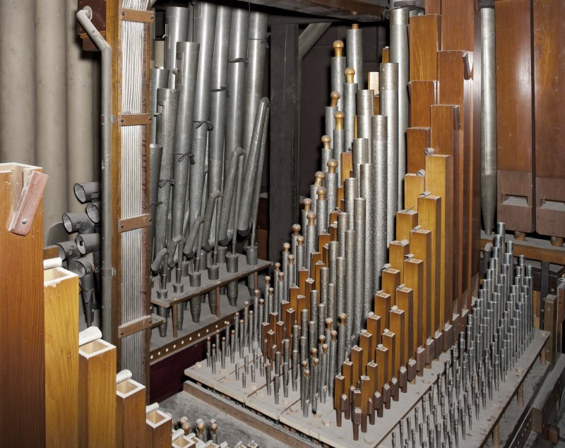 Interior view of Caird Hall, Dundee. 1st floor.  Organ loft upper level, detail of small organ pipes.