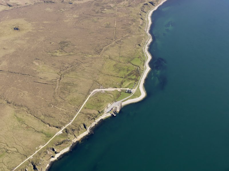General oblique aerial view of Feolin jetty, Jura, taken from the NW.
