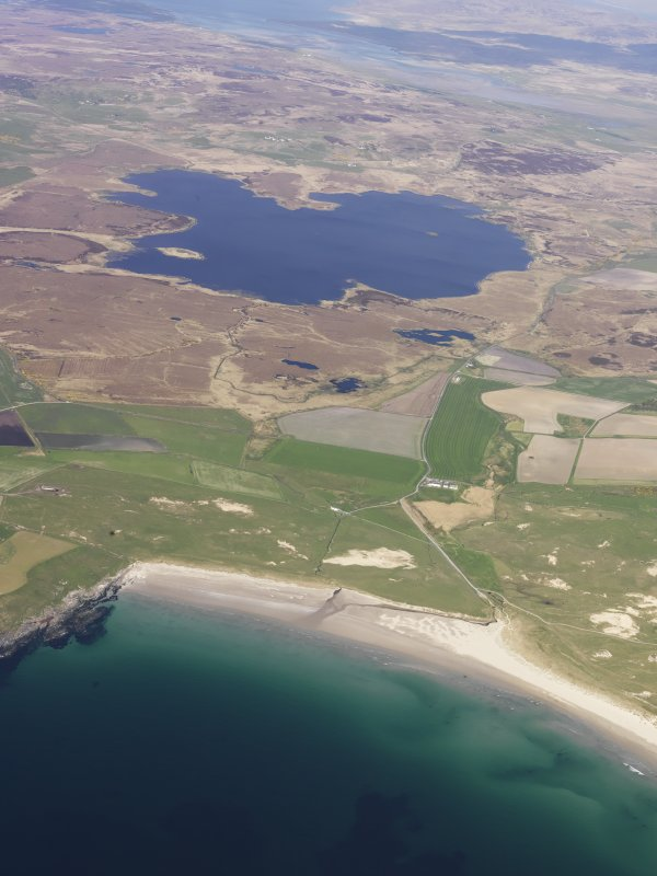 General oblique aerial view of Machir Bay and Loch Gorm, taken from the SW.