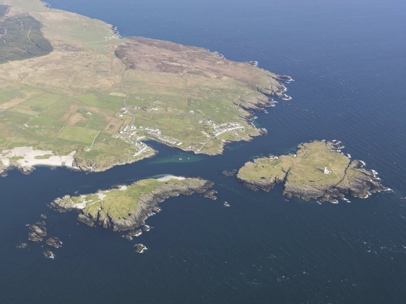 General oblique aerial view of Portnahaven, Port Wemyss and Orsay Island, taken from the W.