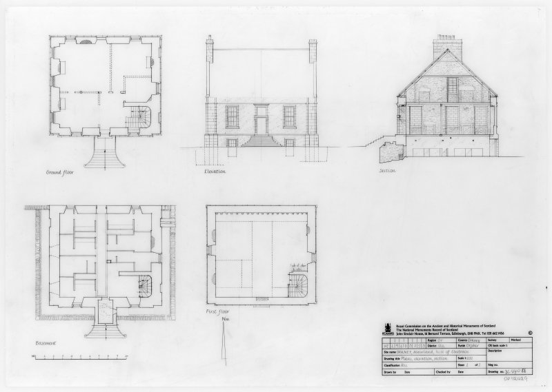 Basement, ground and first floor plans, elevation and section.