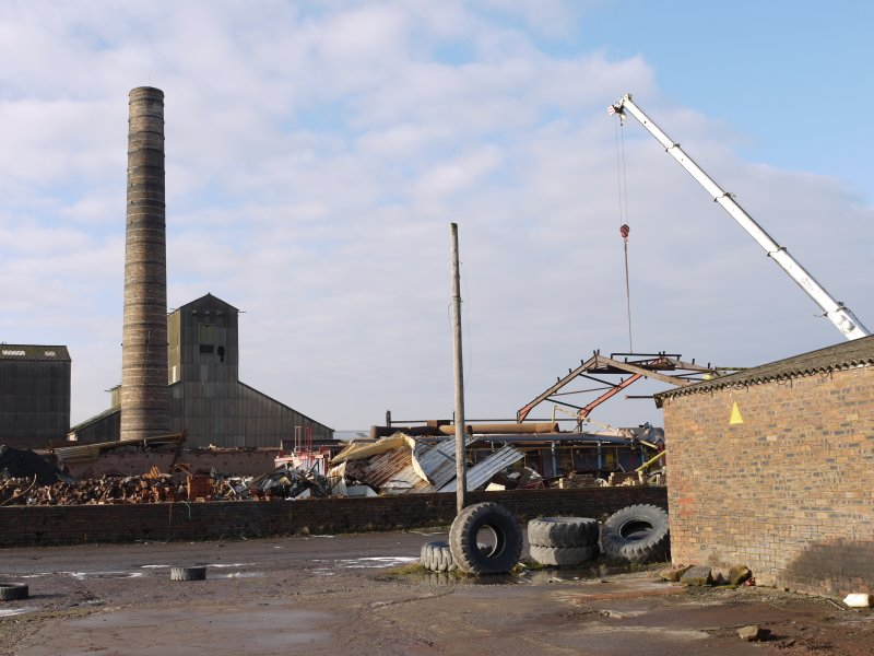 View from east with the Intermittent Kiln building (NS94483 67973) being dismantled.