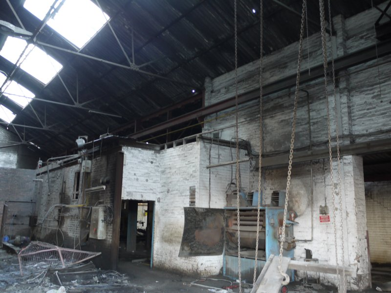 Pan House/ Machine Wing, ground floor. Interior. View of the hopper area. The Crushers would have been placed here. These have noe been removed.