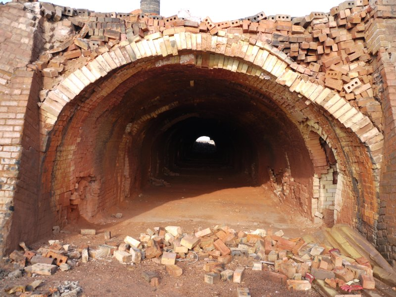 View from south of west chamber of the gas-fired Hoffmann Continuous Kiln centred at NS94470 67952. This kiln could hold 380,000 bricks in total.