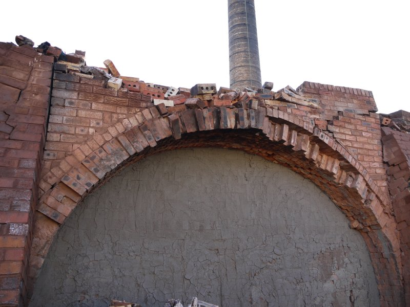 Detail of blocked east chambers (1-14) at north end,  gas-fired Hoffmann Continuous Kiln centred at NS94470 67952 under demolition. This shows the last firing temorary blocking.