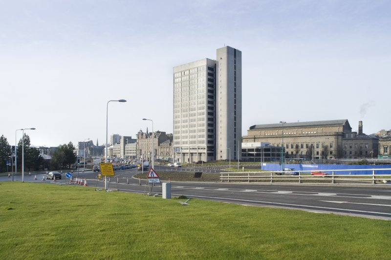 Distant view of Tayside House and the Caird Hall taken from E, adjacent to Tay  Road Bridge sliproad