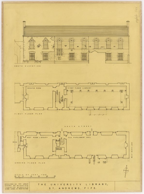 Student drawing showing, south elevation and floor plans for ground and first floors. Title: The University Library, St Andrews, Fife