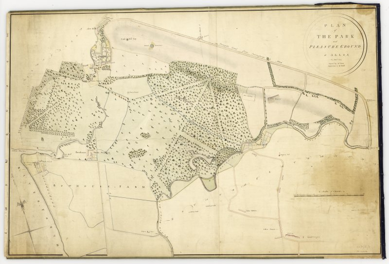19th Century plan showing Arns Brae Pleasure Grounds near Bowhouse Farm and Alloa Tower. Title:  Plan of Park and Pleasure Ground of Alloa