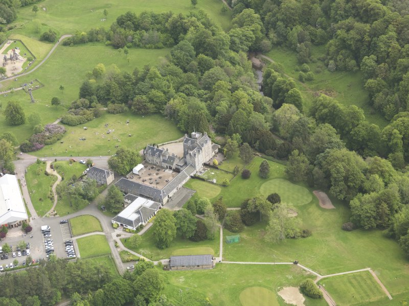 Oblique aerial view of Torrance House, taken from the SSW.