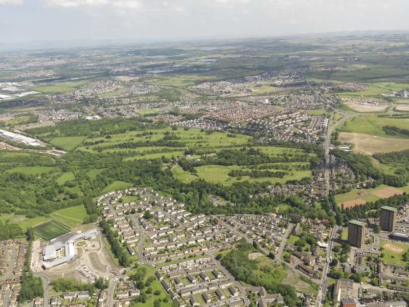Oblique aerial view of Colville Park Golf Course, taken from the S.