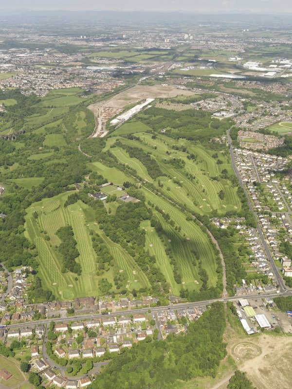 Oblique aerial view of Colville Park Golf Course, taken from the SSE.