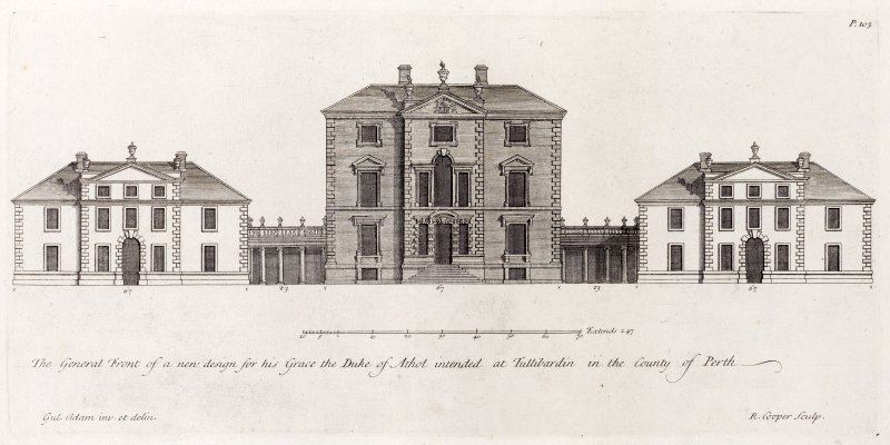 Proposed front elevation. Title: The general front of a new design for his Grace the Duke of Athol intended at Tullibardin in the County of Perth