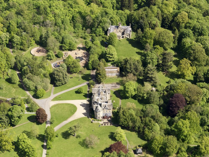Oblique aerial view of Vogrie House, taken from the SW.