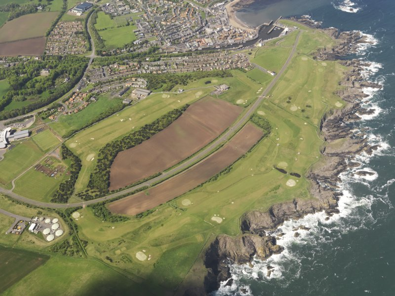 Oblique aerial view of Eyemouth Golf Course, taken from the SE.