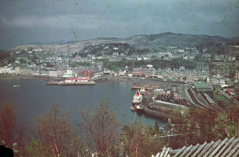 Oban Bay from Pulpit Hill, showing ferries and railway station.