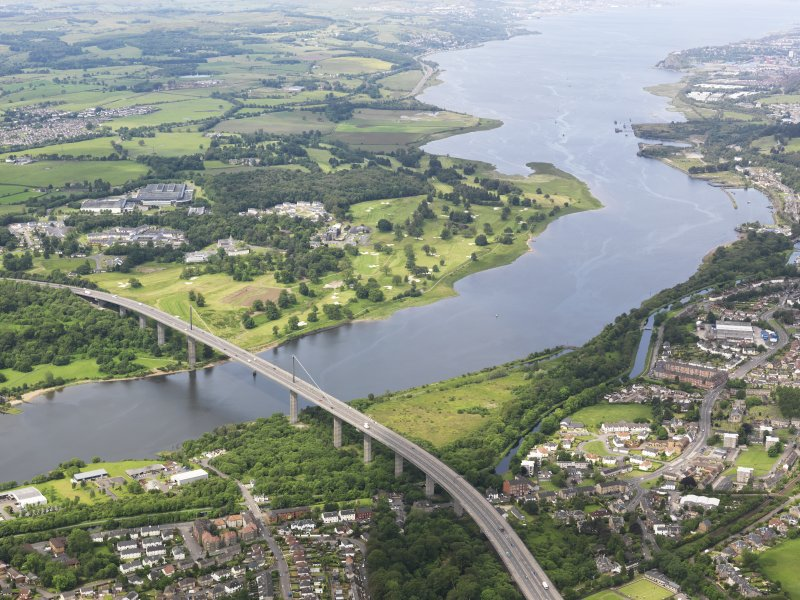 Oblique aerial view of Erskine Golf Course with the Erskine Bridge in the foreground, taken from the ENE.