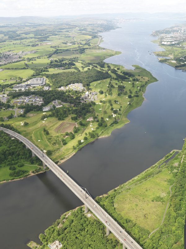 Oblique aerial view of Erskine Golf Course with Erskine Bridge in the foreground, taken from the ENE.