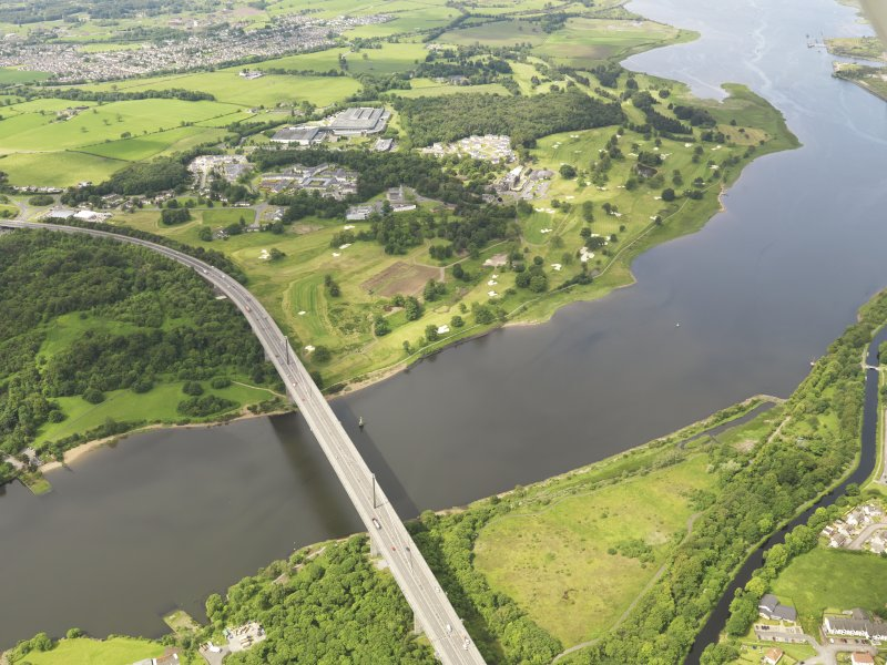 Oblique aerial view of Erskine Golf Course and Erskine Bridge, taken from the NE.