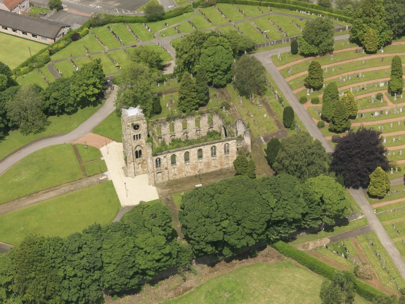 Oblique aerial view of Campsie High Church, taken from the SSE.