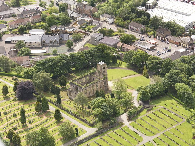 Oblique aerial view of Campsie High Church, taken from the ENE.