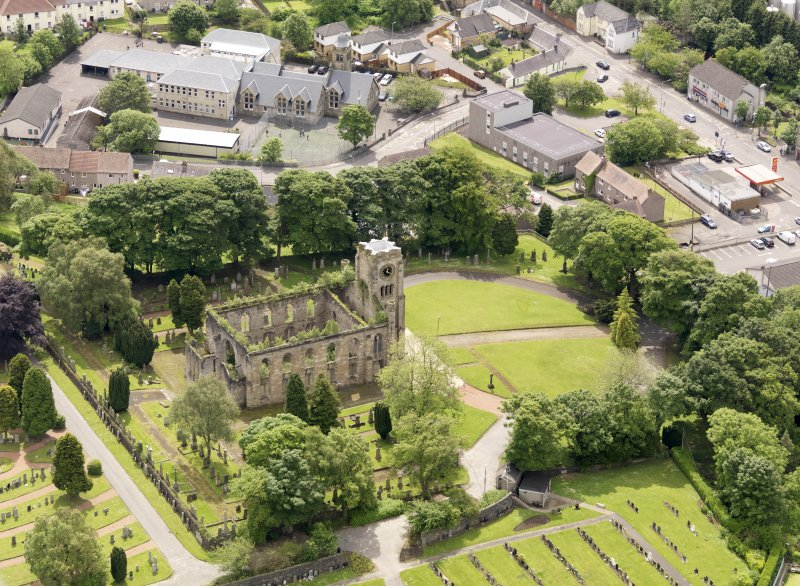 Oblique aerial view of Campsie High Church, taken from the N.
