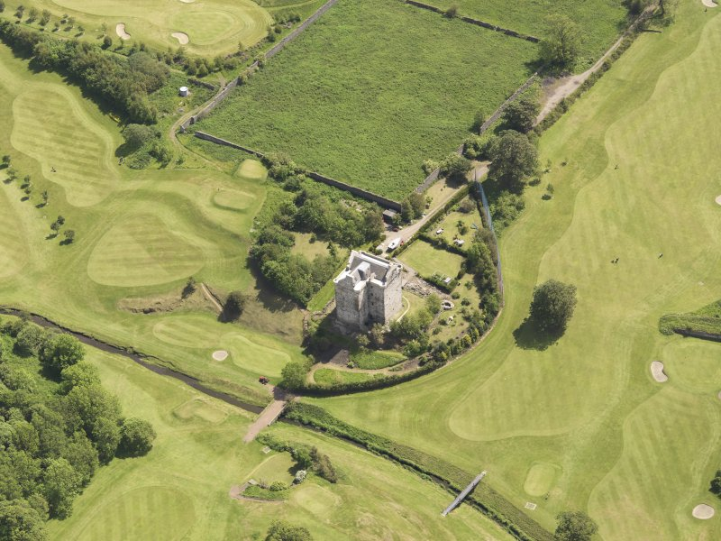 Oblique aerial view of Niddry Castle, taken from the NW.