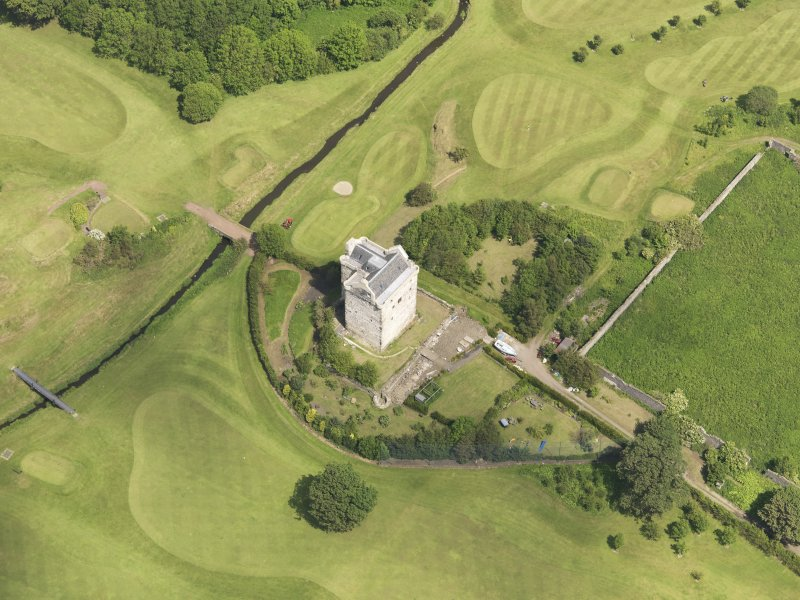 Oblique aerial view of Niddry Castle, taken from the SW.