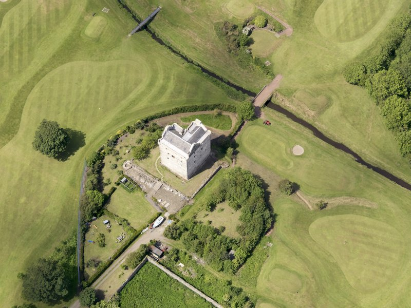 Oblique aerial view of Niddry Castle, taken from the SE.