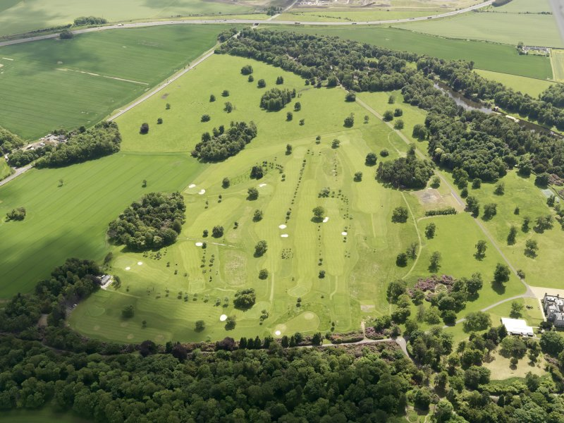 Oblique aerial view of Dundas Park Golf Course, taken from the N.