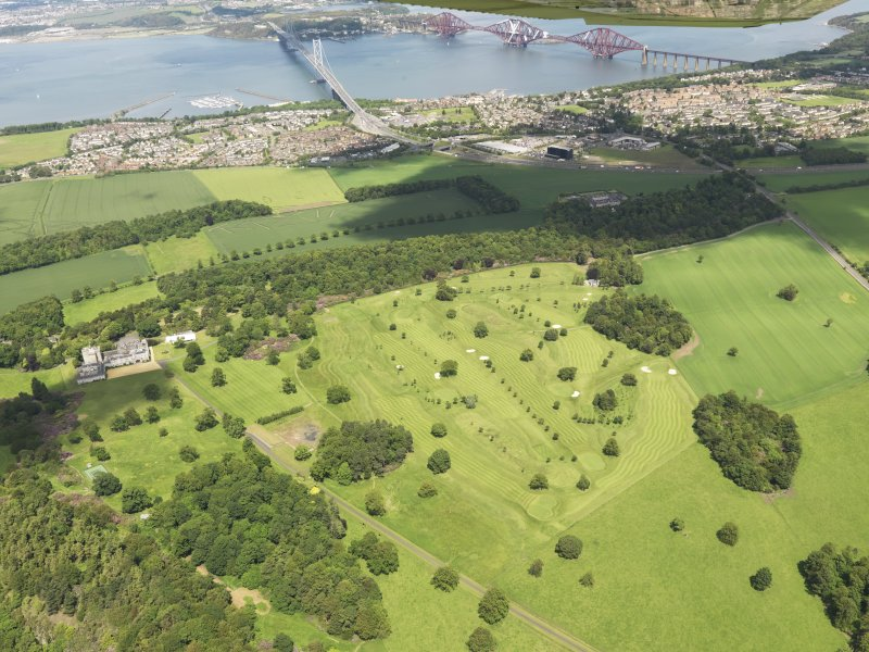 Oblique aerial view of Dundas Park Golf Course with the Forth Rail and Road Bridges beyond, taken from the SSW.