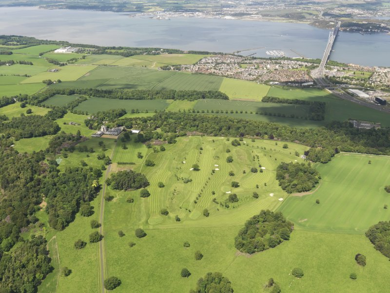 Oblique aerial view of Dundas Park Golf Course with the Forth Road Bridge beyond, taken from the SSE.
