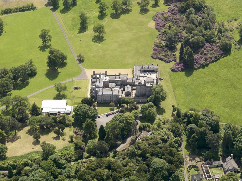 Oblique aerial view of Dundas Castle, taken from the N.