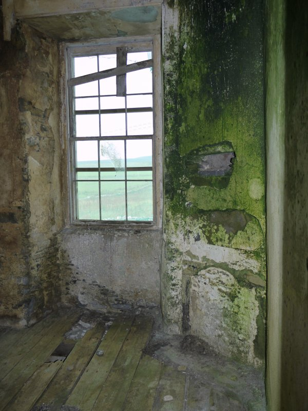 Interior view of recessed window in Hall of Clestrain House, Orkney.
