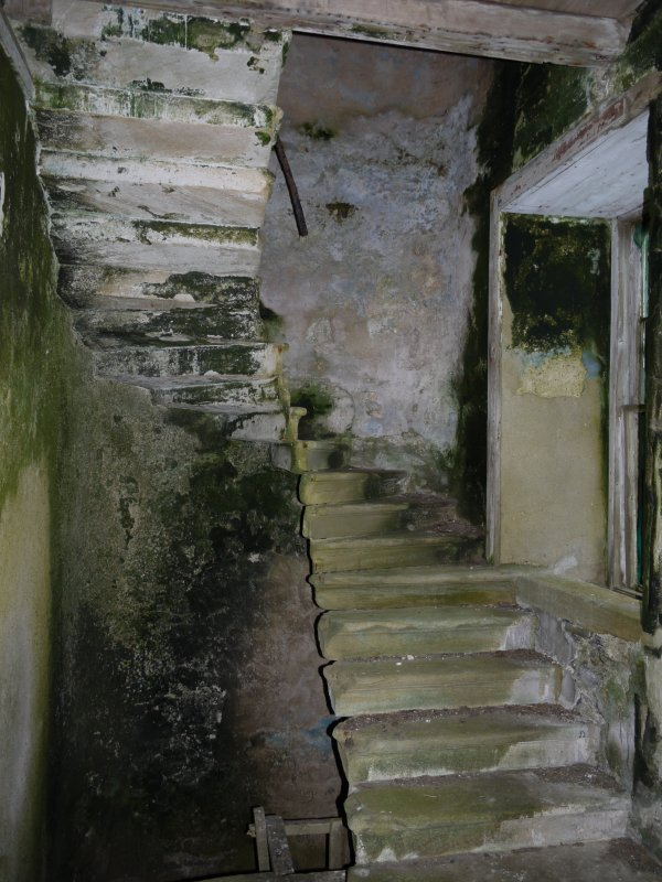 View of staircase inside Hall of Clestrain House, Orkney.