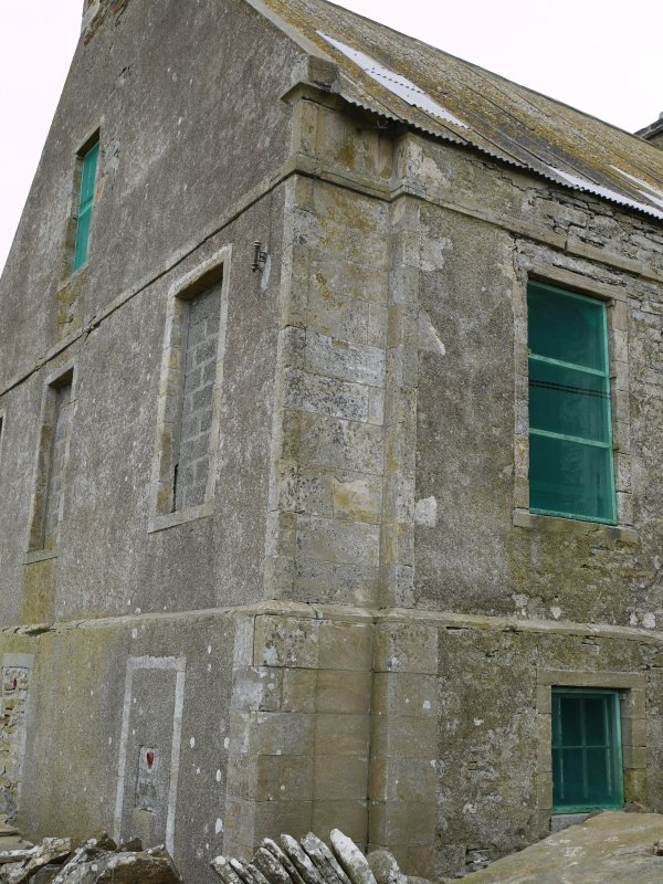 Detail of south-west corner of Hall of Clestrain House, Orkney.