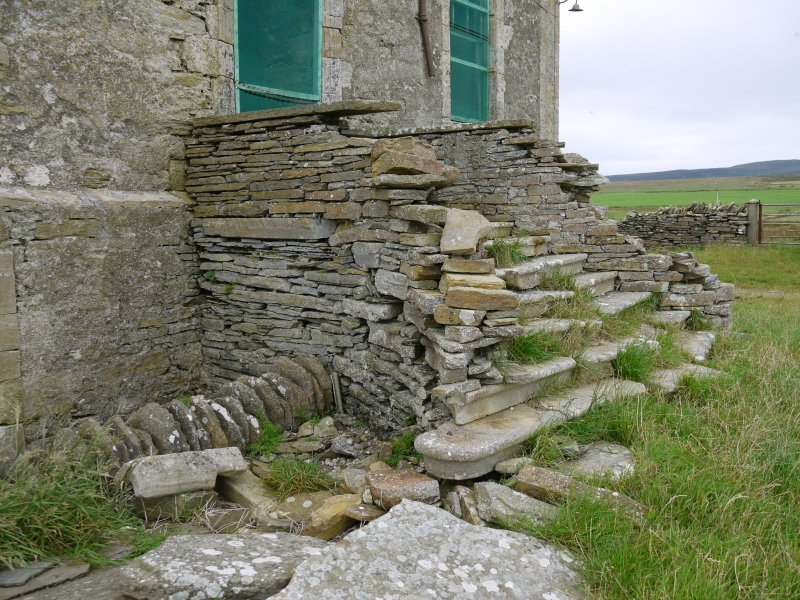 Detail of entrance staircase on south elevation of Hall of Clestrain House, Orkney.