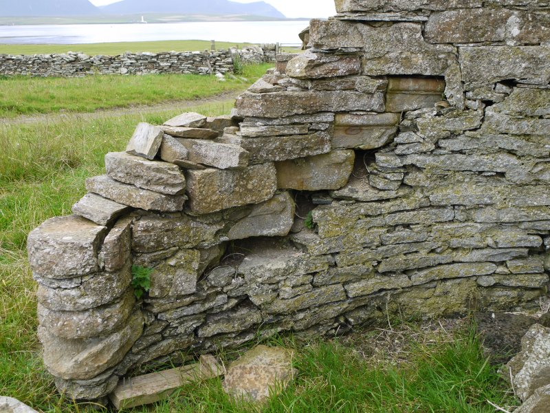 Detail of wall and former stairase at Hall of Clestrain House, Orkney.
