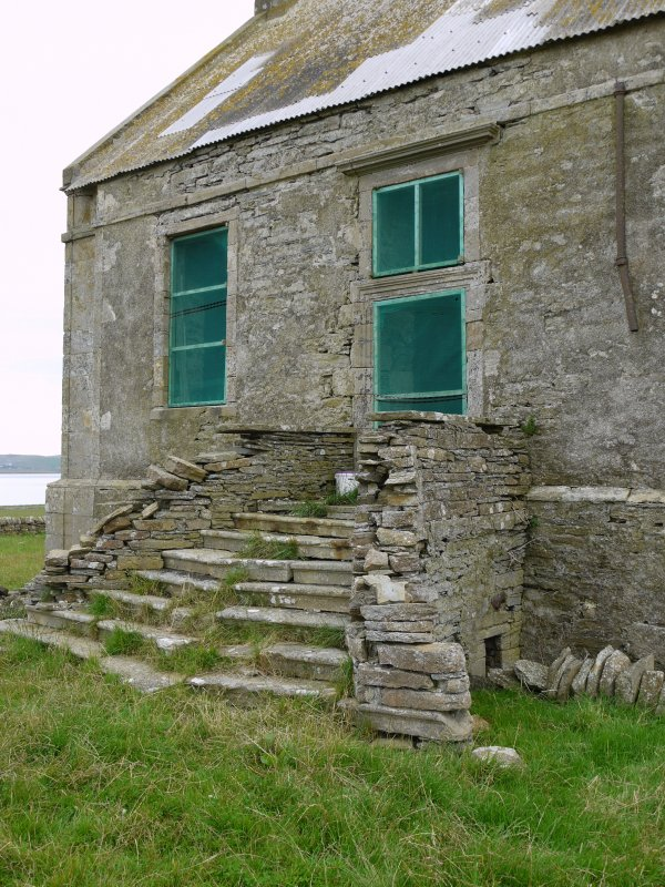 Detail of entrance staircase and doorway on south elevation of Hall of Clestrain House, Orkney.