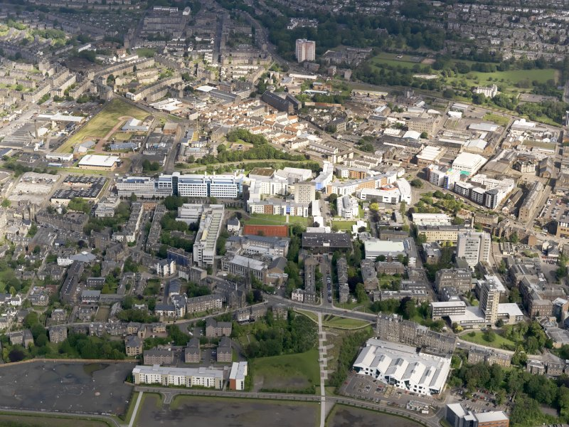 General oblique aerial view of University of Dundee campus, taken from the SE.