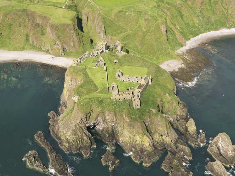 Oblique aerial view of Dunnottar Castle, taken from the ESE.