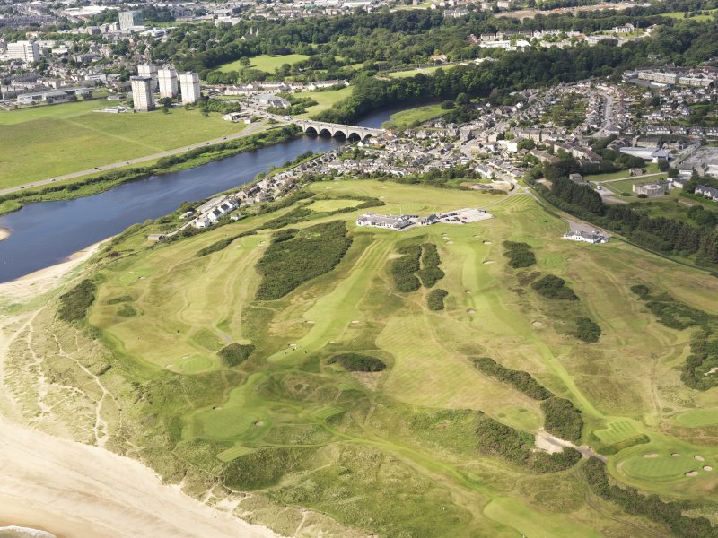 General oblique aerial view of Royal Aberdeen Golf Course, taken from the ENE.