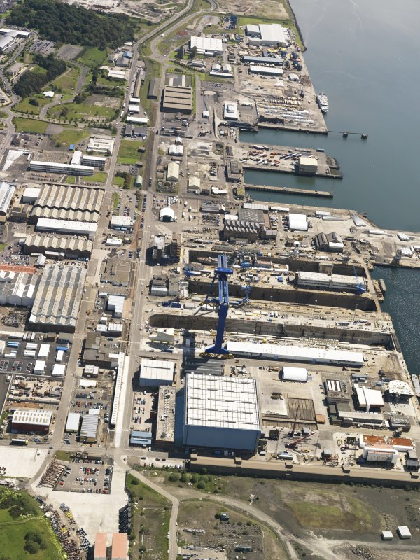 General oblique aerial view of HM Dockyard Rosyth, taken from the NW.