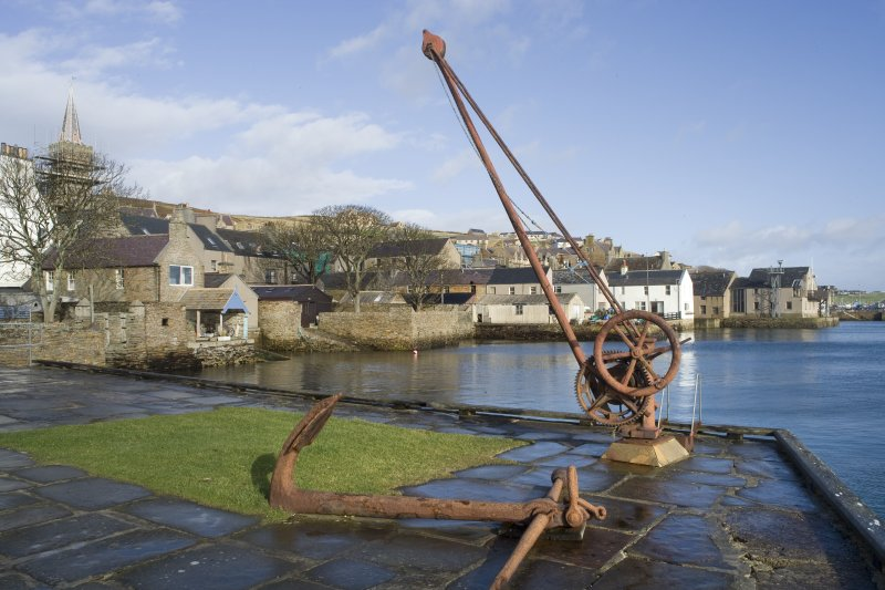 View of hand crane at old quays, Victoria Street, Stromness, taken from the SSE.